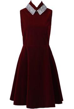 Red Sleeveless Rhinestone Embellished Ruffles Dress $69.99