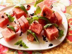 Tomato, Watermelon, and Basil Skewers