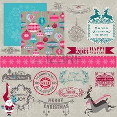 Elementos de diseño del libro de recuerdos - Vintage Feliz Navidad y Año Nuevo - en vector