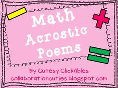 Here are some sample acrostic poems and blank pages to work on math vocabulary.