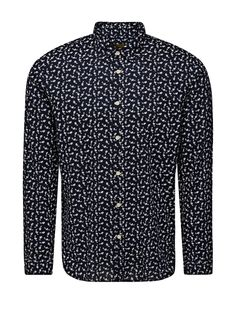 ALL-OVER PRINT LONG SLEEVED SHIRT, Navy Blazer, large