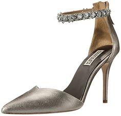 Badgley Mischka Women's Flash II Dress Pump, Pewter Metallic Suede, 8 M US ** You can find out more details at the link of the image.