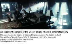 Minority Report - The scene uses the smoke technique to create a haze and create the illusion of depth, as well as to make beams of light visible. Smoke adds a certain texture and mood. Everything Film, Film Tips, Minority Report, Cinematic Photography, Lighting Techniques, Film School, The Smoke, Film Movie, Movies