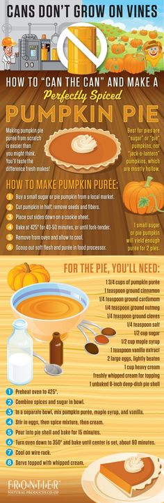 How to make a pumpkin pie from scratch [Infographic] - Richmond Times-Dispatch: Food, Recipes & Entertaining. I've never eaten pumpkin pie, so might be worth a try! How To Make Pumpkin, A Pumpkin, Pumpkin Puree, Pumpkin Recipes, Pie Recipes, Pumpkin Spice, Cooking Recipes, Spiced Pumpkin, Canned Pumpkin