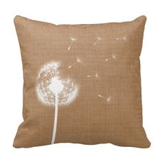 Burlap pillow | Rustic Burlap Dandelion Throw Pillow