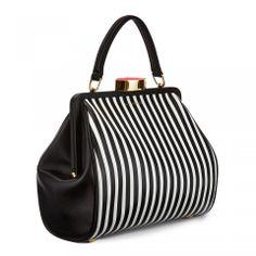 Black & White Stripe Leather Small Eva! Shop here > http://www.luluguinness.com/black-white-stripe-leather-small-eva