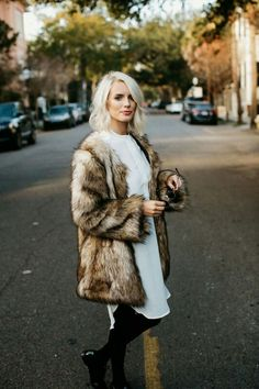 Fur and white dress