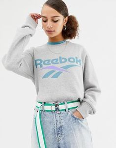 Reebok Classics grey vector logo sweatshirt Sweatshirt Outfit, Sweater Outfits, Asos, Sweat Shirt, New Reebok, Jack Wills, Juicy Couture, Miss Selfridge, Blouse