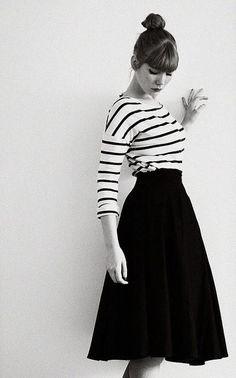 Black and White Chevron Striped Katie Skirt full gathered and ...