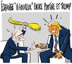 Alex (2017-07-08) G20 où G2?  Vladimir Poutine,  Donald Trump  --   dessin Courrier picard 08.07.2017