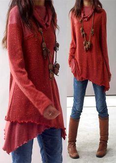 Asymmetric Hem Cowl Neck Long Sleeve Red Blouse | lulugal.com - USD $34.42
