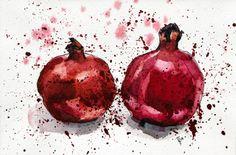 Pomegranate Evening by Aleksandra Kabakova Pomegranate Tattoo, Pomegranate Art, Watercolor Fruit, Abstract Watercolor, Autumn Illustration, Botanical Illustration, Watercolour Challenge, A Level Art, Alcohol Ink Art