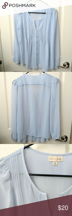 Baby blue pintuck chiffon blouse Maison Jules blouse in a lovely baby blue color with front button closure, split neck, pintuck details, and slight puff at shoulders. size XS.  This blouse is very feminine yet structured and will work well under a blazer for work wear or with a skirt for a more girly twee style.  Excellent used condition. questions and offers welcome! Maison Jules Tops Blouses