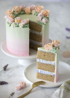 Moist Lavender cake with Italian meringue and American Buttercream