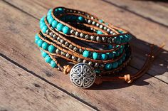 Amazon.com: Leather Wrap Bracelet, Turquoise Gemstone, 5X Layered Wrap: Handmade