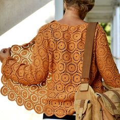 """Cookies"" crochet cardigan pattern by Lena Fedotova (my new favorite designer) No sewing; beautifully shaped with tapered sleeves, square neckline, and slightly oversized front panels for a comfy fit. Written, charted, and schematics, intermediate skill level. $7.50 pdf download (8 page pattern with additional photos)"
