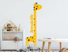 Buy this super cute personalised giraffe height chart wall sticker and keep track as your childs growth slowly but surely increases. Numerous colours *SHOP NOW* Height Ruler, Wall Colors, Colours, Pink Giraffe, Height Chart, Artwork For Home, Childrens Wall Stickers, Chart Design
