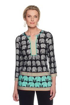 Shop our lively selection of Ruby Rd Missy tops. A variety of styles for all occasions including: sharkbite hem tops, bell sleeve tops, embellished tops, blouses, tees and shirts. Bell Sleeves, Bell Sleeve Top, Border Print, Embellished Top, Tees, Shirts, Elephant, Tunic Tops, Printed