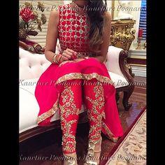 Details.. Kaurture high low made in a beautiful blood red #poonamskaurture