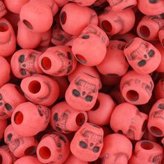 150 Red Antique 11mm Halloween Skull Pony Beads Made in the USA