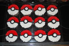 15 chocolate/15 vanilla cc's decorated in all buttercream to look like the pokemon ball