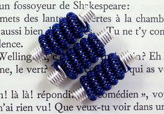 Coiled wire beads silver and navy blue handmade beads for jewellery making 3 pcs