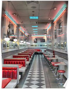 red white and blue diner