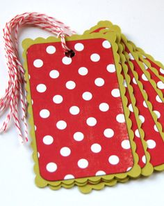 Peppermint Dots Christmas Tags . Scallop Holiday by scrapbits
