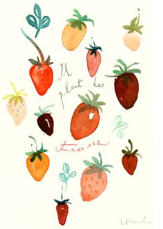 strawberries. this print framed would be cute in the kitchen.