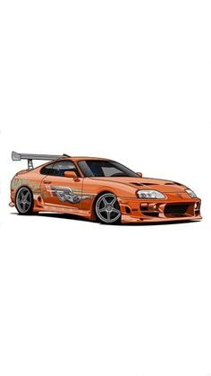 Fast and Furious Toyota Supra Fast And Furious, Toyota Supra Mk4, Fast Sports Cars, Car Vector, Car Illustration, Illustrations, Car Posters, Car Drawings, Car Tuning