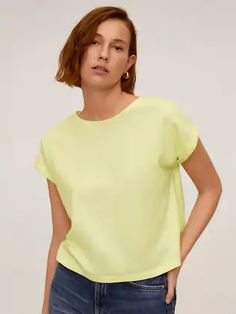 MANGO Women Yellow Solid Round Neck T-shirt
