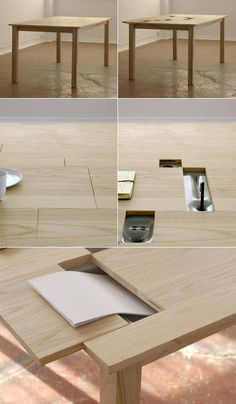 TAB table - slidesout to reveal paper/pen storage, USB hub...