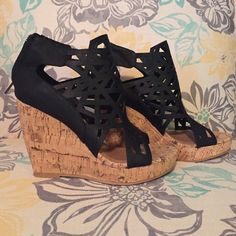 Black Wedges From Apricot Lane Boutique, never been worn. Wedges have a cork look to them and the black park is rubbery material, making them very comfortable! Shoes Wedges