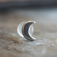 Silver Crescent Moon Tragus Stud Helix Earring by CaterpillarArts