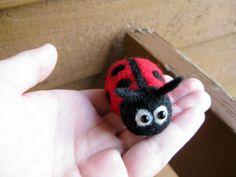 Ladybug Miniature  Needle Felted Animal  Soft by ThePineappleCatz, $16.00