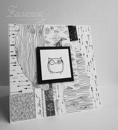 Ręcznie robiona kartka z sową/ Handmade card with owl