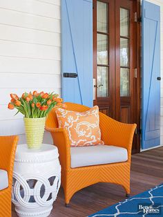 It's easy to fall hard for classic rattan chairs when they're spritzed with juicy orange paint. They go from ho-hum to woo-hoo -- with just a few minutes' work. Pair them with contrasting blue elements for even more pizzazz.