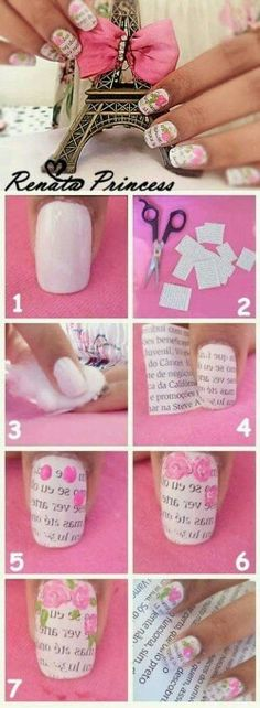 Nail art design is very important for women. There are many ways to decorate your nails with excellent nail art designs. Nowadays, a popular trend of nail design is newspaper nail art design. Newspaper nail art design is one of the simplest, fastest Cute Nail Art, Nail Art Diy, Easy Nail Art, Diy Nails, Cute Nails, Pretty Nails, Book Nail Art, Gorgeous Nails, Beautiful Nail Designs