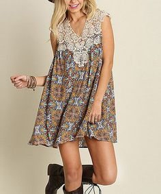 Jade & Rust Arabesque Lace-Yoke Shift Dress #zulily #zulilyfinds