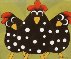 """ JUST US CHICKENS "" Whimsical Chickens Painting by Annie Lane  www.yessy.com/annielane"