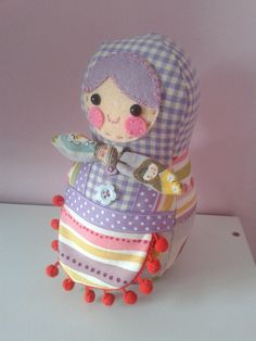 Russian doll made for a birthday girl. Made using this pattern http://www.etsy.com/listing/83517548/babushka-doll-pattern
