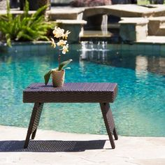 Christopher Knight Home Outdoor Wicker Adjustable Folding Table with Rich Brown Finish | Overstock™ Shopping - Big Discounts on Christopher Knight Home Coffee & Side Tables $60