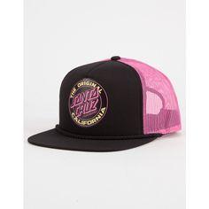 Santa Cruz Cali Dot Womens Trucker Hat (£19) ❤ liked on Polyvore featuring accessories, hats, truck caps, 5-panel hat, mesh back snapback hats, snapback hats and santa cruz skateboards