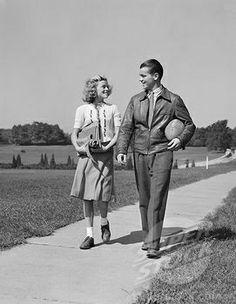 1930s teen | Stock Photo #4186-16238, 1930S 1940S Teen Couple Walking Down Sidewalk ...