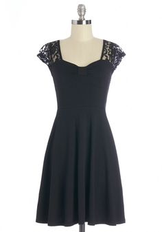 Time of Your Life Dress - Black, Solid, Lace, Party, A-line, Cap Sleeves, Good, Knit, Mid-length, Lace