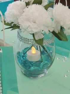 Tiffany OFF! 28 Ideas wedding blue tiffany bridal shower for 2019 Tiffany Theme, Tiffany Party, Tiffany Wedding, Tiffany Blue Weddings, Bridal Shower Centerpieces, Table Centerpieces, Centerpiece Ideas, Turquoise Centerpieces, Breakfast At Tiffanys Party Ideas