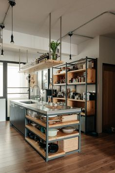 25 Wonderful Industrial Kitchen Ideas That. If you are looking for Industrial Kitchen Ideas That, You come to the right place. Below are the Industrial Kitchen Ideas That. This post about Industrial . Industrial Kitchen Design, Industrial House, Kitchen Interior, Kitchen Decor, Kitchen Ideas, Kitchen Layout, Design Kitchen, Vintage Industrial, Cheap Kitchen