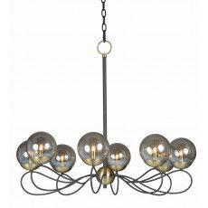 Reverb 8-Light Pendant w/LED Bulbs in Textured Bronze / Satin Brass
