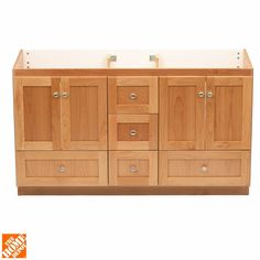 This Shaker-style bathroom vanity is simply beautiful and exceptionally well-made. Hardwood drawers run deep and long on this cabinet, constructed with dovetail joints for extra strength. This unit is designed for modular use with other natural alder vanities in the Simplicity Shaker collection from Strasser.