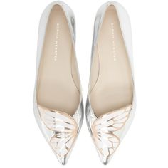 Women's Sophia Webster 'Bibi Butterfly' Pointy Toe Flat (350 PAB) ❤ liked on Polyvore featuring shoes, flats, silver rose gold, pointed toe shoes, flat pump shoes, metallic shoes, flat heel shoes and pointy toe flat shoes